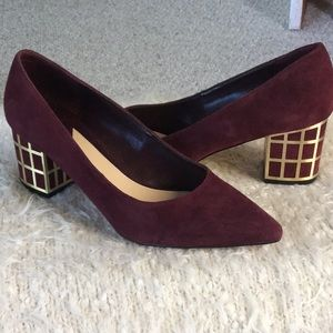 Brian Atwood Burgundy Caged Block Heel